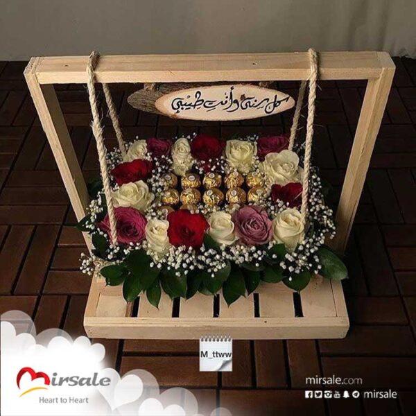 أرجوحة من قطع الشوكولا و الورود